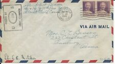 United States Canal Zone 1942 WWII solders mail - franked booklet pane pair