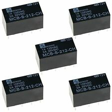 5 x Subminiature PCB 12V Signal Relay DPDT