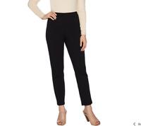 Joan Rivers Petite Signature Ankle Pants w/ Front Seam Detail Black Petite Med