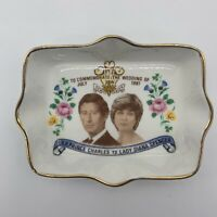 Vintage Theodore Paul Prince Charles Diana Spencer Commemorative Trinket Dish