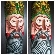 "Elegant Large Wall Hanging Tiki Bamunu Wooden Mask with Stunning Headdress 20"""