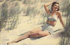 Original 1930s-50s Semi Nude Pinup Linen PC- Dunes- Bikini Swimsuit- Legs- 1944
