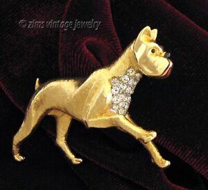 Vintage Marcel BOUCHER signed Gold BOXER Dog pave rhinestone figural PIN brooch