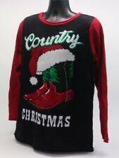 Ugly Christmas Sweater Womens Country Christmas Boots Light Up Size XL NWT P