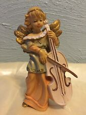 """Vintage 50s Signed Italy Molded Plastic Angel Playing Cello 4.75""""h Ornament"""