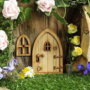 Mini Fairy Tale Door Window Set Garden Statue Decoration Wooden Fairy Tale Door