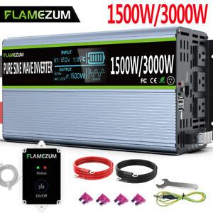 HGJDKSJ Inverter per Auto Potenza di Picco 3000w Inverter 12v 220v 1500w Inverter con Accendisigari 12v con 4 Prese USB 2 AC con Display LCD,12-220V//1500W