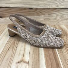 Sesto Meucci 8 N Narrow Shoes Woven Sling Back Tan Cream Heel Leather Made Italy