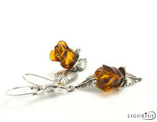 NATURAL BALTIC AMBER STERLING SILVER 925 Rose Earrings Droop Dangle Certified