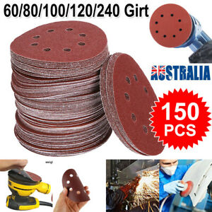 "150pcs 125mm 5"" Sanding Discs 60 80 100 120 240 Mixed Grit Orbital Sander Pads"