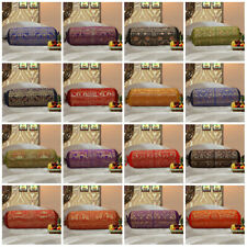 """Brocade Bolster Cushion Cover Cylindrical Traditional Ethnic Design Neck 30"""""""