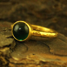 Handmade Hammered Designer Round Emerald Ring 24K Gold Over 925K Sterling Silver