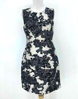 Kate Spade Leena Dress Women's Size 8 Sleeveless Sheath Black White Lined Silk