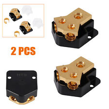 2X 0/2/4 Gauge in 4/8/10 Gauge Out 2 Way Amp Copper Power for Car Audio Splitter