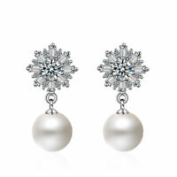 Solid 925 Sterling Silver Pearl Shiny Zircon Cluster Snowflake Ear Stud Earrings