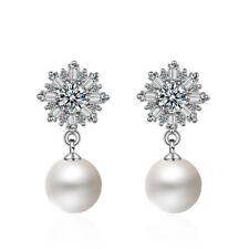 Solid 925 Sterling Silver Pearl Shiny Zircon Cluster Snowflake Ear Stud Earrings