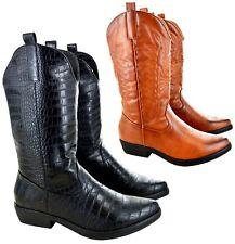 Señoras Mujeres Cowboy Cowgirl Mitad de Pantorrilla Western Bloque talón Botas de Montar Talla 3-8