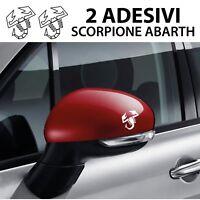 2 adesivi logo Abarth scorpione specchietti fiat 500 grande punto evo tuning