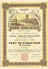 FRANCE GOLD REASEARCH COMPANY OF GAULES stock certificate 1912