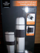 THE SHARPER IMAGE Coffee THERMOS & TRAVEL MUG SET DOUBLE WALLED STAINLESS STEEL
