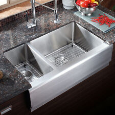 "AZ203R - 33"" Stainless Steel Double Bowl Farmhouse Apron Kitchen Sink COMBO"