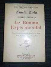 Emile Zola - Le Roman Expérimental - Bernouard