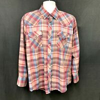 Vintage Men's Pearl Snap Shirt Ely Plains Brand Red Plaid size 17.5-34/35 Bin AA