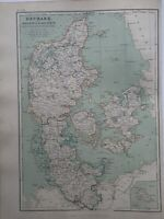 1872 Denmark Schleswig Holstein Large Hand Coloured Antique Map By W.G. Blackie
