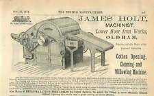 1877 James Holt Machinist Lower Moor Iron Works Oldham Cotton Opening Ad