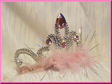 Haarreif KRONE Strass Rosa Silber Glitzer Diadem Prinzessin Krone für Kostüm