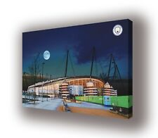 Manchester City - Etihad Stadium With Blue Moon - Wall Canvas 63x40cm