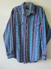1990s WRANGLER SHIRT Denim Vintage Retro Green Blue Stripes Cotton Sz XL