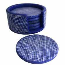Blue Etched Pattern Coaster Set - Soapstone - Handmade in Kenya - Fair Trade