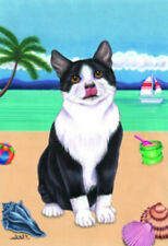 Beach Garden Flag - Black and White Tuxedo Cat 640101