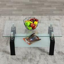 Simple Rectangular Two Tiers Tempered Glass Coffee Table Living Room Furniture E