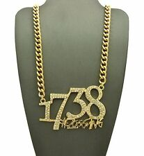 MENS ICED OUT GOLD 1738 ZOO GANG REMY BOYZ  PENDANT MIAMI CUBAN CHAIN NECKLACE