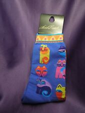 Laurel Burch Artworks Cat Socks Blue Background w/ Colorful Cats