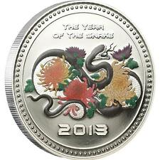 2013 Cook Islands 5 Dollar Year of the Snake Coloured 1 Oz Silver Coin