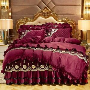 Duvet Cover Set Soft Lace Bedding set Quilted Bedskirt Bedspread Pillowcases