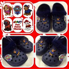 Childrens Boys Blue Paw Patrol Croc Type Fur Lined Slippers Shoes - Kids Size 10