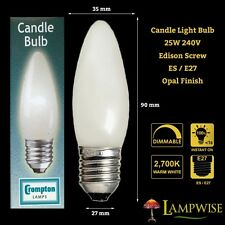 CROMPTON 25W 240V EDISON SCREW ES/E27 OPAL CANDLE LAMP