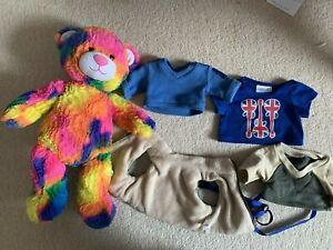 Build A Bear Large Rainbow Multicoloured Bright Bear 18''+ Boy Clothes Bundle