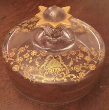 Early 20th Century Elegant Glass Etched Gold Encrusted Round Butter Dish Lid