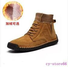 Vintage Mens Ankle Boots Shoes Leather Lace Up Casual High Top Cotton Fur Winter