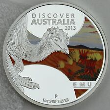 "2013 $1 Emu 1oz. 99.9% Pure Silver Color Proof Coin ""Discover Australia"" Series"
