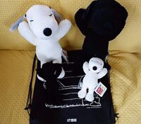 UNIQLO KAWS × PEANUTS Black & White SNOOPY Plush S or M size or Set of 2/SP Set