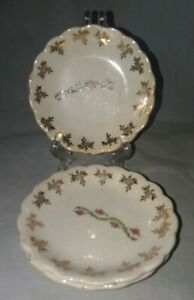 3 Vintage Butter Pats Red Rose With Gold Floral Trim