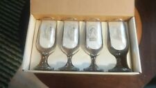 4 Vintage Coors Beer Glasses Gold Rim Waterfall 12 oz America's Fine Light Beer