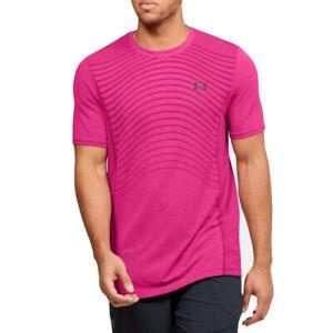 Under Armour UA HeatGear Mens Seamless Wave Novelty Pink Sports T Shirt M