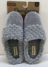 Women's  Dearfoams™ Slippers Size Large 9-10 Sleet Grey Velour New With Tags